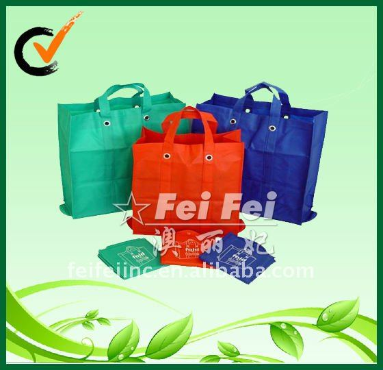 PP non woven foldable bag or shopping bags with eyelets