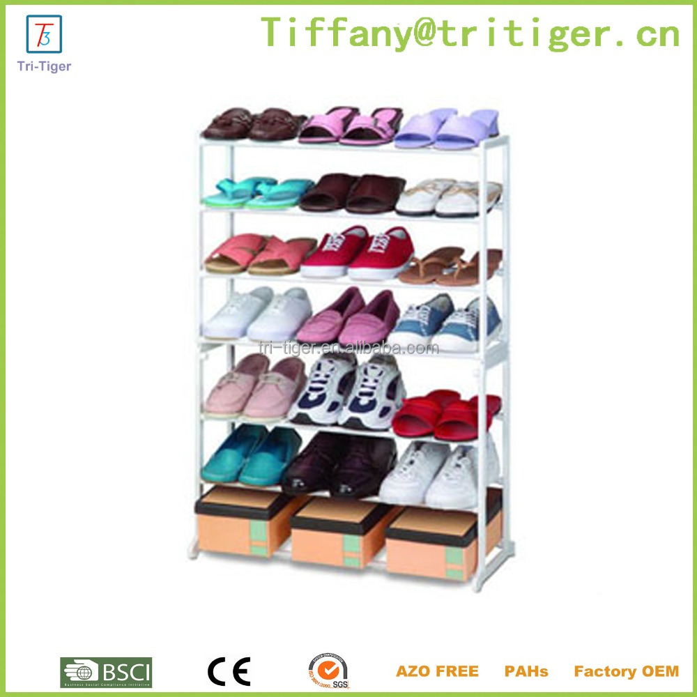 stainless steel industrial shoe rack 7 tiers 21 pairs pull out shoe rack