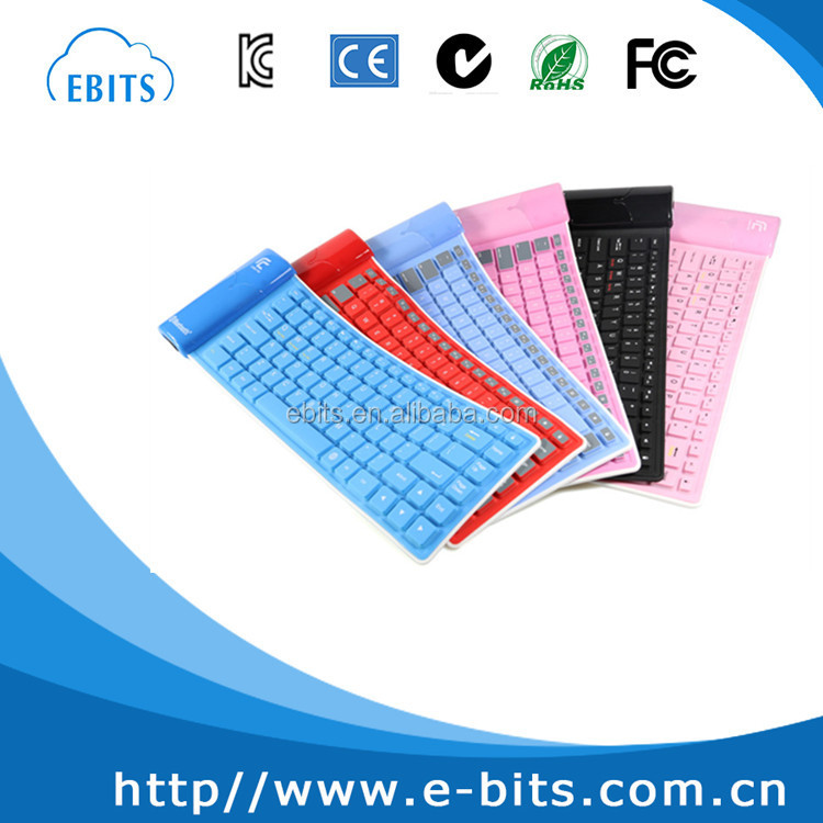 For Apple SAMSUNG Wireless Bluetooth Keyboard Desktop Notebook Portable Waterproof Silica Soft Folding Keyboard