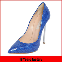 wholesale hot sale new design fashion italian high heel mature sexy elegant royal blue womens dress shoes for women