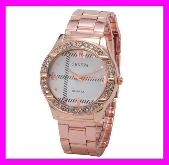 Most popular fashion crystal rose gold geneva watch japan movt water resistant wholesale HD1844