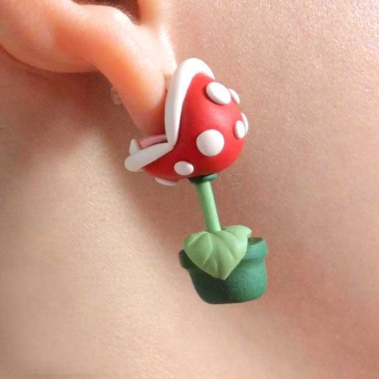 Novelty Handcrafted Super Mario Inspired Ear Biting Piranha plant Polymer Clay Granduation Party Decor