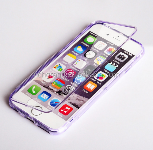 Ultra Thin soft TPU Crystal Clear Flip Full Protective Phone Cases for iPhone6 6S 6 plus