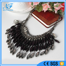 Fashion accessories jewelry grey/navy/silver/ transparent Water droplets shape beads necklace jewelry