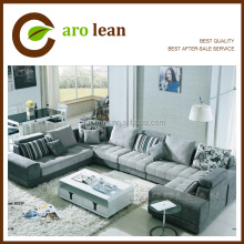 < S833> modern U shape sectional sofa fabric, sofa set living room furniture, fabric sofa set designs