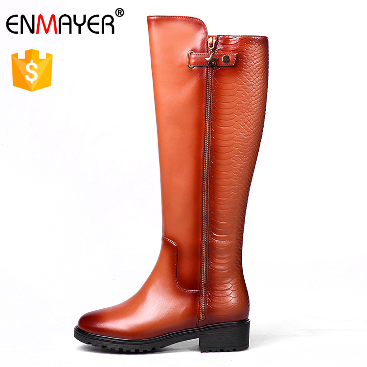 Genuine leather boot woman girl zip boot shoes hnee high work boots