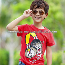 fashion cotton music headset printing design children t-shirt for boys