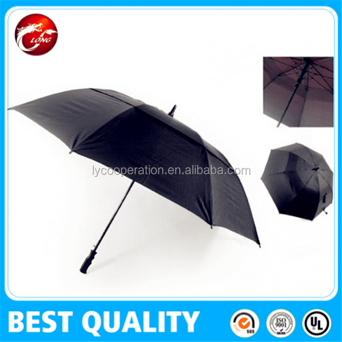 strong windproof golf umbrella with fiber glass umbrella