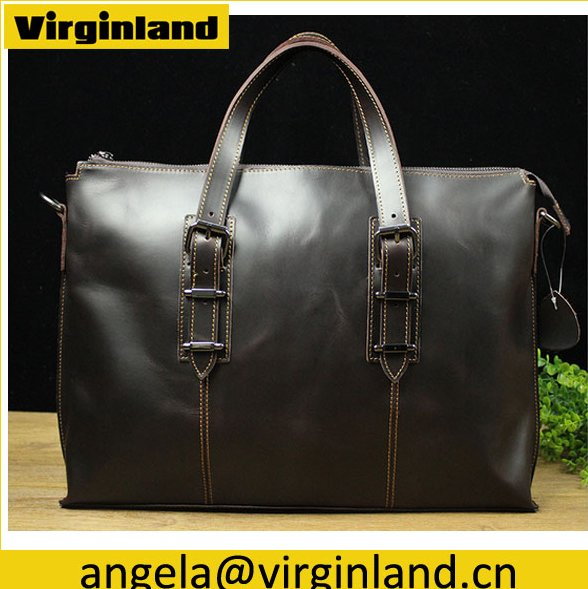 OEM High Quality Business Style Genuine Leather Office Bags for Men