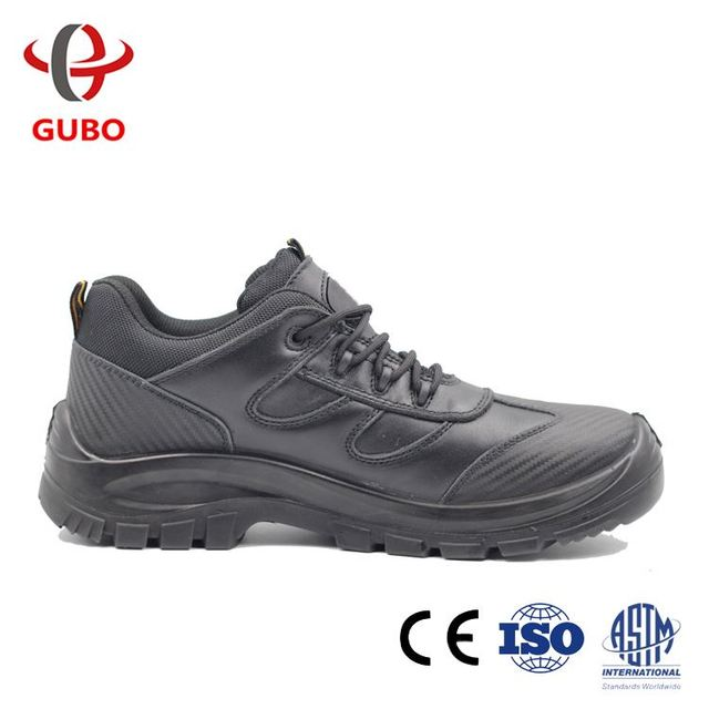 High Quality Men's Black Leather Cheap Industrial Safety Shoes with Steel Toe Cap