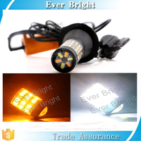 T20 4014 60smd LED Dual Color White/Amber Switchback Turn Signal Light Canbus Error Free Decoder Load Resistor W21W
