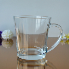 Hot selling 400ml clear glass mug for drinking coffee /tea/milk for promotion