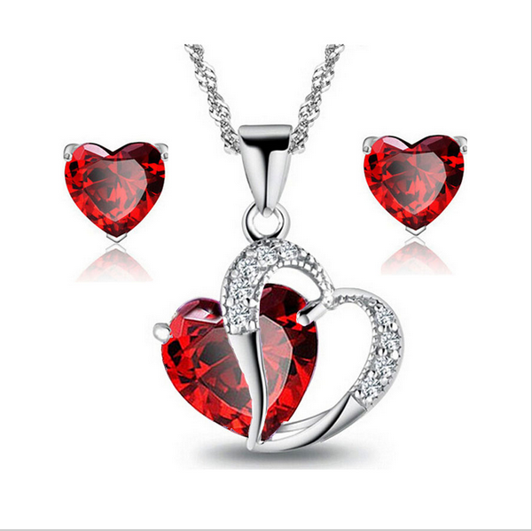Valentine's Fashion Jewelry <strong>Sets</strong> Silver AAA Cubic Zircon Cz zircon red Heart Necklaces Stud Earrings Gift <strong>Sets</strong> Wedding <strong>Set</strong>