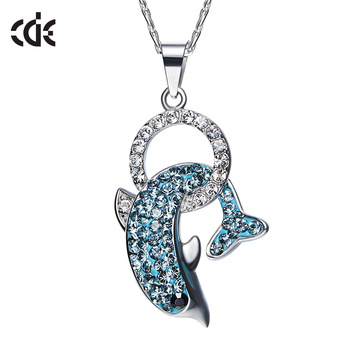 ODM OEM crystals from Swarovski jewelry manufacturer custom 925 sterling silver fashion dolphin pendant necklace