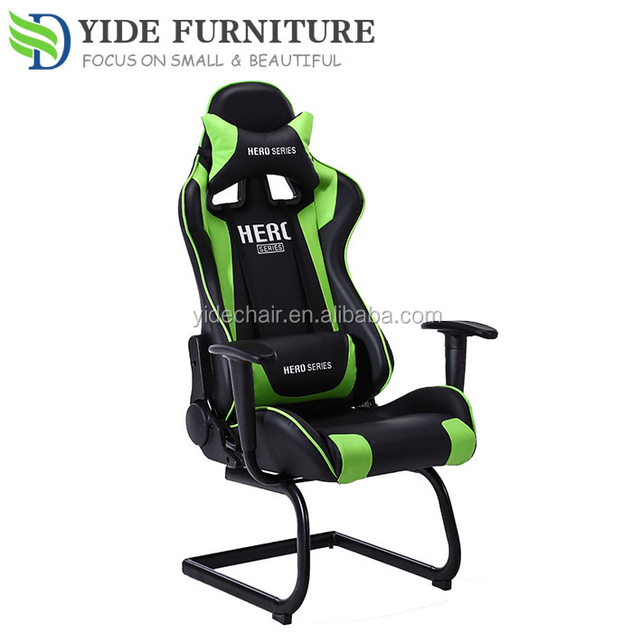 Green leather swivel Computer chair adjustable office chair no wheels