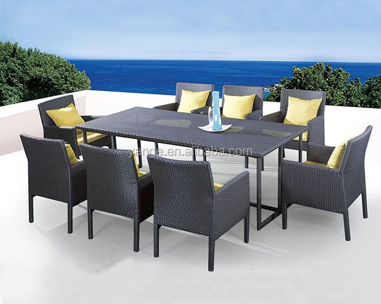 8 seater italian rattan dining table chairs garden furniture - Garden Furniture 8 Seater