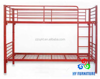 New dormitory bed set furniture design red metal bunk bed wholesale