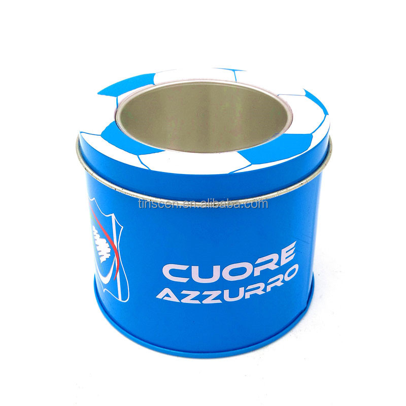 Round watch metal packaging tin box with clear top