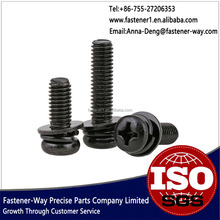 Black Zinc-plating Pan Head Machine Screw With Washer Attached