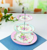 Pretty floral 3 tiers cake stand British bone china ceramic cake stand wholesale