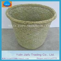 Handmade weaving decorative nature round seagrass waste bin