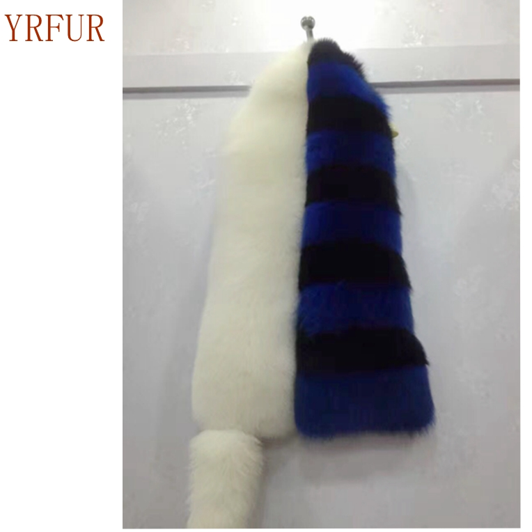YR781YR FUR Factory Luxury Real Fox Fur <strong>Scarf</strong> Block Color Hot Sale Drop Ship