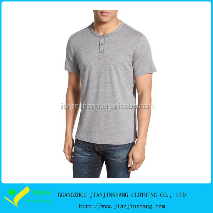 wholesale custom men's short sleeve 3 button henley t shirts