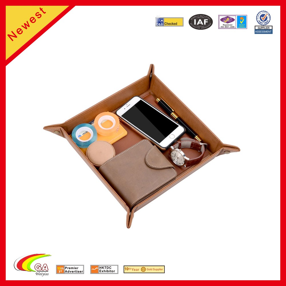 2016 new product pu leather coin phone candy sotrage holder tray with 3000mah power bank