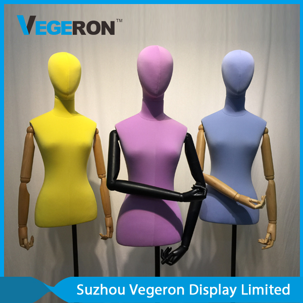 half body torso mannequin with wooden flexible arm