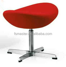 replica fiberglass fabric /genuine leather Egg Chair ottoman with aluminum base designed by Arne Jacobsen