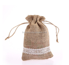 Factory Jute Burlap Sackcloth Gift Drawstring Bag Cheap Drawstring Pouches With Decoration