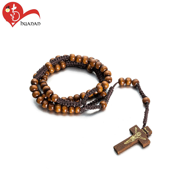 New design religious handmade wooden rosaries cord necklace