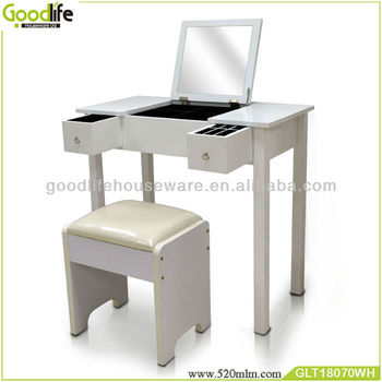 Wooden night table with flip top mirror from goodlife