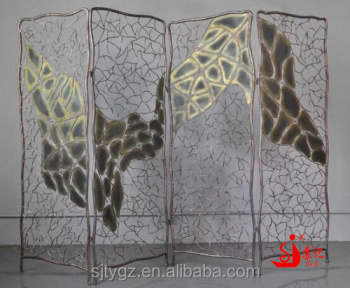 Small wrought iron folding room divider screen