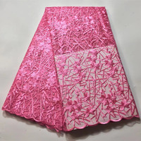 New Arrival French Tulle lace fabric High Quality Embroidery Beautiful african french net lac fabric 3d flower