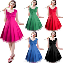 2016 new style 2014 Hot Sale Vintage rockabilly dress halterneck 50s pinup dress play costume summer evening party dress