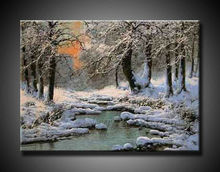 fine art oil painting snow scenery