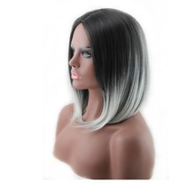 Fashion Short Straight Bob Wigs 1b/Grey Virgin Human Hair Full Lace Wig For Small Heads
