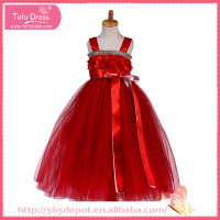 With waistband vermilion fluffy prom dress children frocks designs flower girl dress