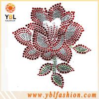 Flower bling hotfix rhinestone design for Tee shirt