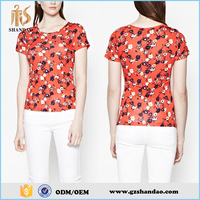 2016 Guangzhou shandao colorful grid floral print pattern scoop neck cotton summer girls printed t shirts