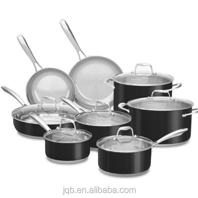 14 pieces Stainless Steel Cookware Casserole Set with Glass Lid