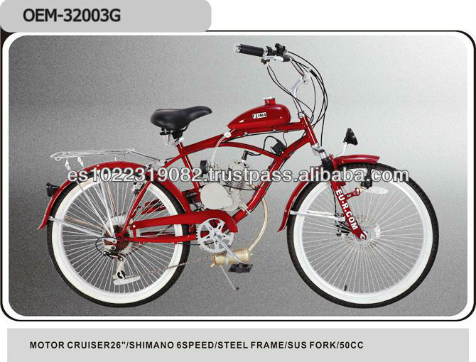 26 inch 50cc 2-stroke gas motor chopper bike