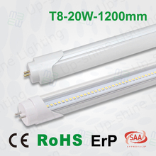 AC100-265V two end power 1900-2100lm CE Rhos SAA approval Shenzhen manufacturer 20W warm white 4ft t8 fixture with high quality
