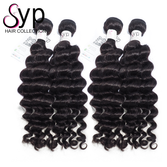 Brazilian Virgin Human Baby Hair Color 1b 8a Bundles 30in Deep Wave