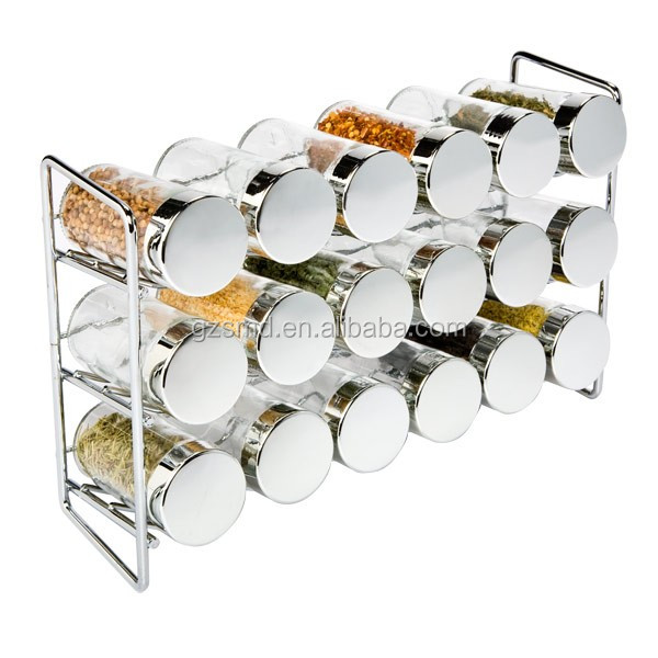 18 Bottles 3 Tiers Chrome Spice Rack Stand Holder