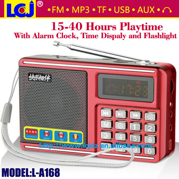 L-A168 led alarm clock radio with sd usb card slot eaphone headphone jack
