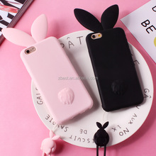 For iPhone 8 plus cute cartoon rabbit ear silicone mobile phone protector case/cover