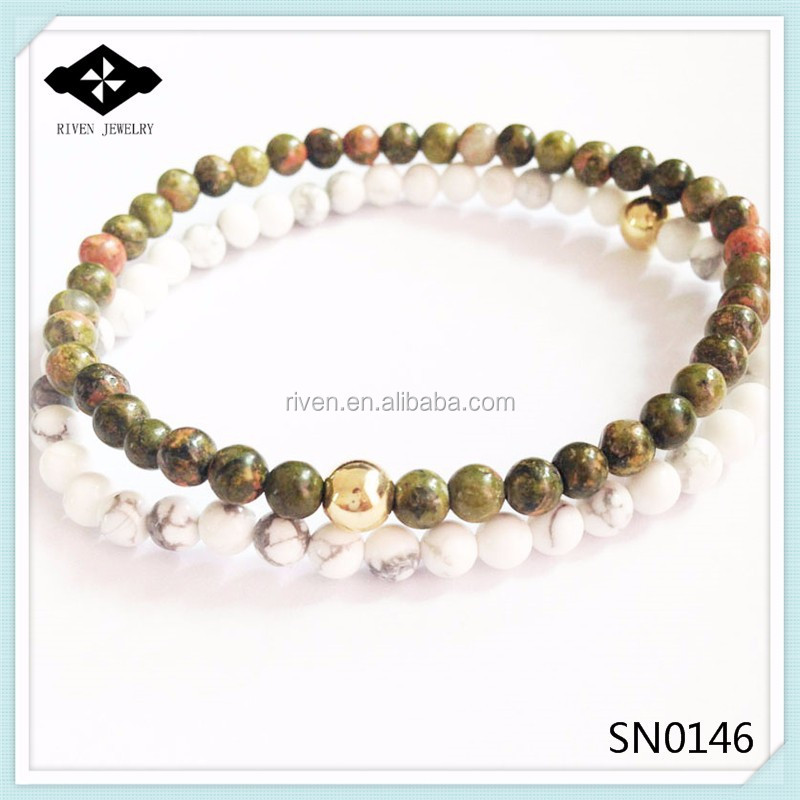 SN0146 4MM Natural White Turquoise Unakite Stone Bracelet set Handmade Stretch bracelet men 2015