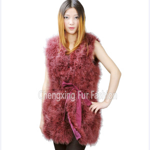 CX-G-B-137D Feather Vest Genuine Turkey Fur Ladies Vest Dress